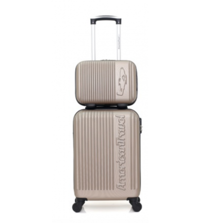 Set 2 valises cabine et vanity American travel - collection Nashville-h - Beige